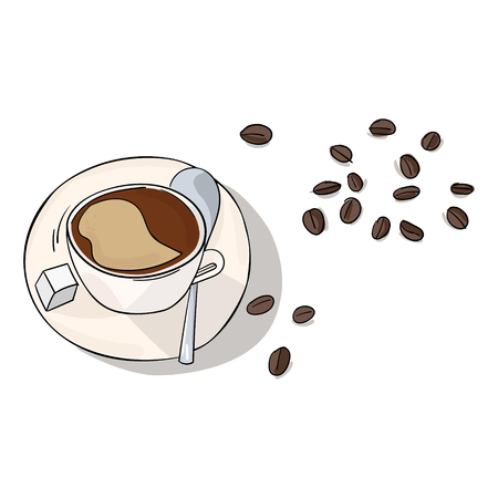 boiling water: Coffee in cup and beans doodle hand drawn vector illustration