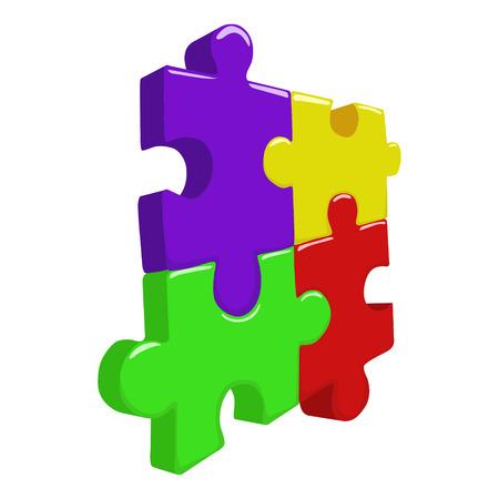 color 3d: Color 3D puzzle pieces hand drawn doodle vector illustration Illustration