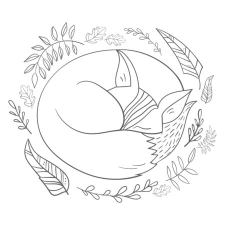 monochromic: Sleeping fox grey line hand drawn doodle vector illustration Illustration