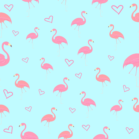 flamingos: Seamless pattern flamingo bird with heart hand drawn vector illustration Illustration