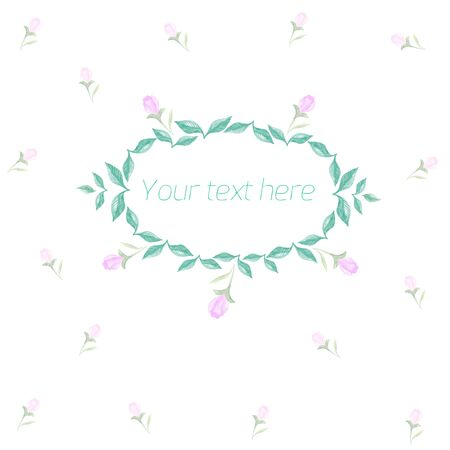 placeholder: Spring floral ornament with text watercolor placeholder