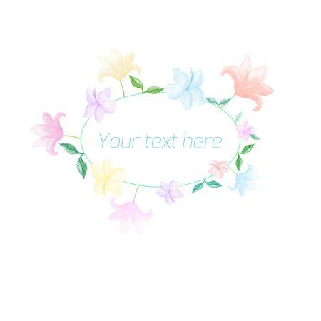 blumen verzierung: Fr�hling floralen Ornament mit Text Aquarell Platzhalter Illustration