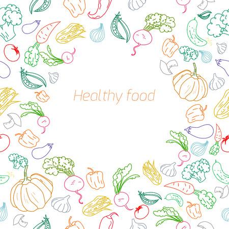 pumpkin seeds: Text placeholder healthy color vegetables doodle hand drawn  background Illustration