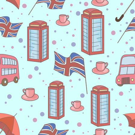 Great Britain symbols  doodle hand drawn seamless pattern