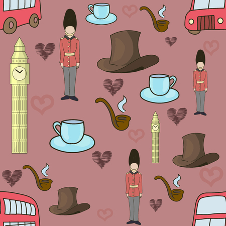 englishman: United Kingdom seamless doodle hand drawn pattern red color