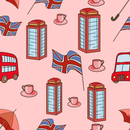 Great Britain symbols  seamless pattern doodle hand drawn pink color Illustration