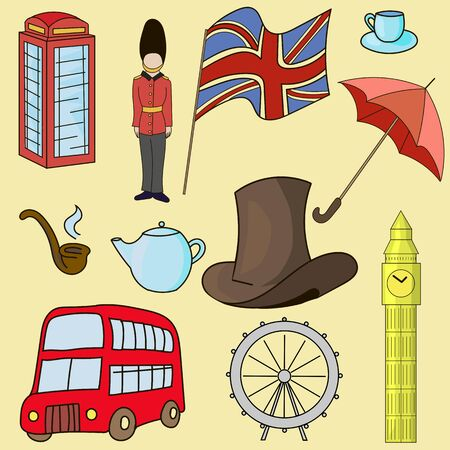 englishman: United kingdom of Great Britain doodle hand drawn symbols