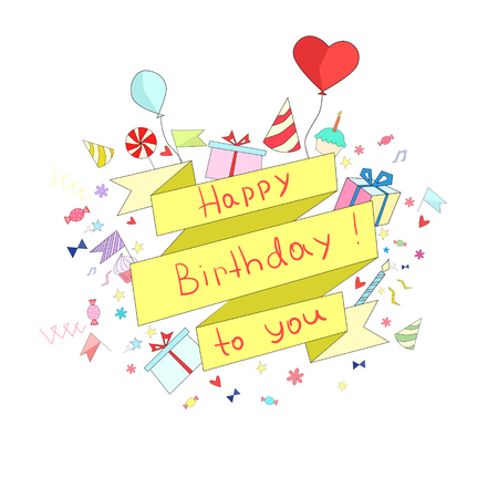 placeholder: Birthday ribbon frame for text placeholder doodle hand drawn vector illustration
