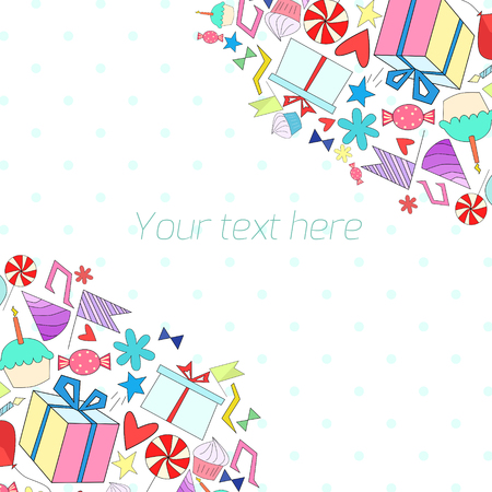 placeholder: Holiday background with text placeholder doodle hand drawn