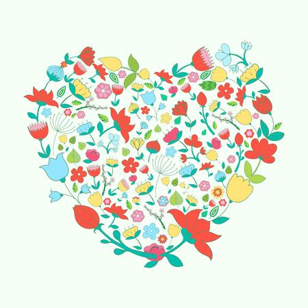 canlı renkli: Heart and flowers vivid color doodle hand drawn vector illustration
