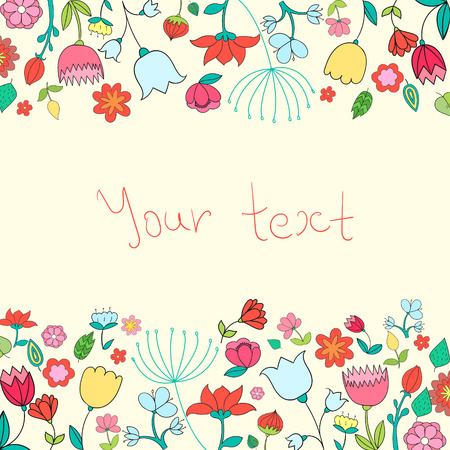 placeholder: Placeholder card text flowers doodle hand drawn  vector illustration