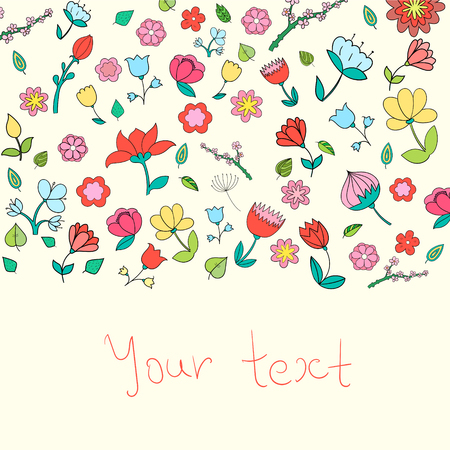 Flowers text placeholder color doodle hand drawn  vector illustration
