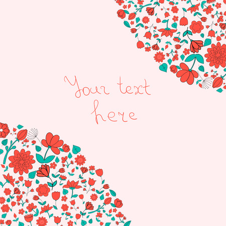placeholder: Flowers text placeholder corner doodle hand drawn vector