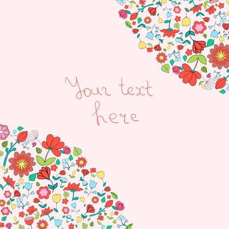 placeholder: Flowers text placeholder corner doodle hand drawn vector illustration