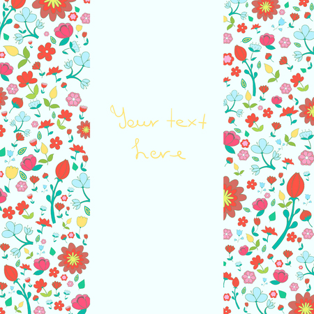 placeholder: Flowers text placeholder both sides doodle hand drawn vector illustration Illustration