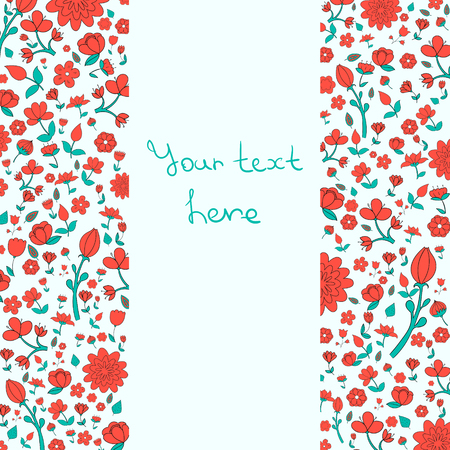 placeholder: Flowers text placeholder both sides red color doodle hand drawn vector illustration Illustration