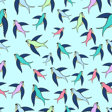 sway: Swallow flying seamless pattern doodle hand drawn vector illustration Illustration