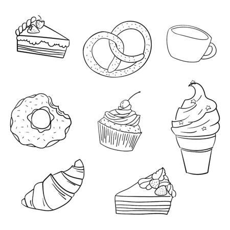 sweetness: Sweetness black and white hand drawn doodle vector illustration