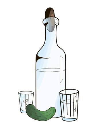 cucumber: Bottle with vodka and cucumber hand drawn doodle vector illustration