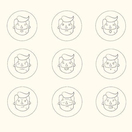 surprisingly: Hipster man beard emoticons doodle hand drawn vector illustration