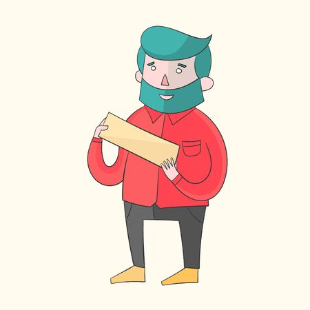 canlı renkli: Hipster man beard with plate for text vivid color doodle hand drawn vector illustration