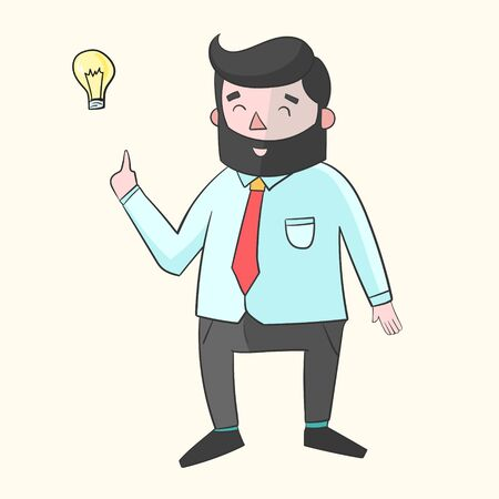 joking: Hipster man beard with idea lamp for text color doodle hand drawn vector illustration