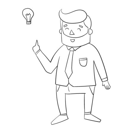 joking: Hipster man beard with idea lamp for text black and white doodle hand drawn vector illustration