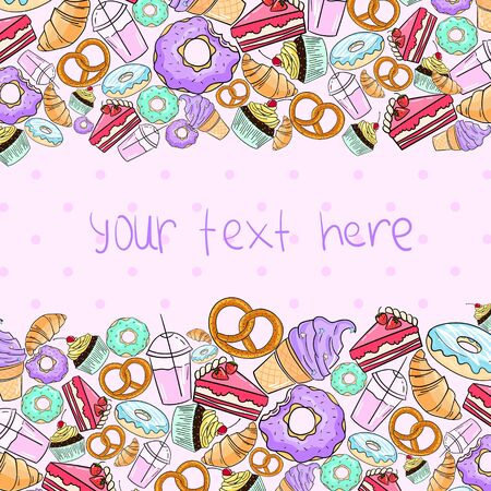Croissant cake icecream placeholder for text doodle hand drawn vector background illustration