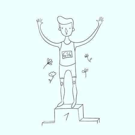 primer lugar: Deportista ganó la ilustración vectorial primer lugar garabato dibujado a mano