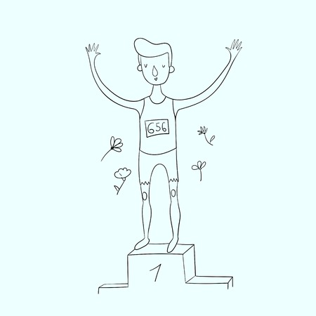 sportsman: Sportsman won the first place doodle hand drawn vector illustration