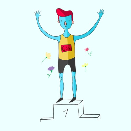 Sportsman won the first place doodle hand drawn vector illustration