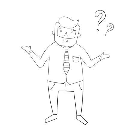 cheerfulness: Businessman and question doodle hand drawn cartoon vector illustration Illustration