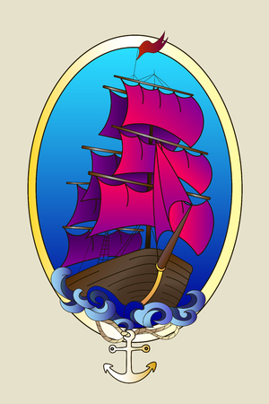 Tattoo ship color hand drawn doodle vector illustration