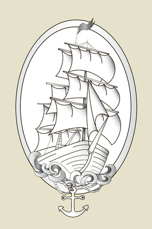 黒と白の船ステンシル手描き落書きベクトル図をタトゥーします。