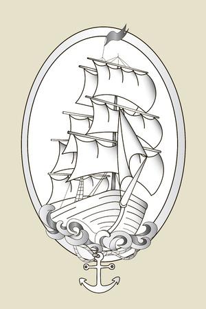Tattoo schip zwart en wit stencil met de hand getekende vector illustratie