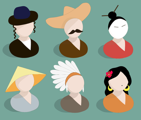 Avatars traditional national suits doodle hand drawn vector illustration