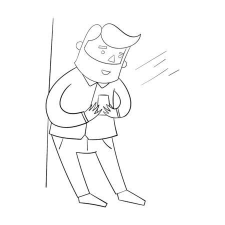 joking: Businessman hipster man with smartphone cartoon doodle hand drawn vector illustration Illustration
