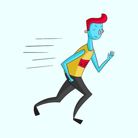 canlı renkli: Sportsman runner vivid color doodle hand drawn cartoon vector illustration