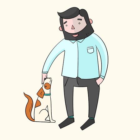 joking: Businessman hipster man with dog color hand drawn doodle vector illustration
