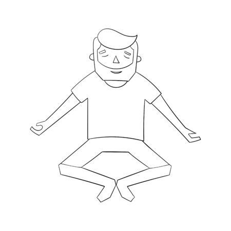 meditation man: Meditation man black and white cartoon doodle hand drawn vector illustration