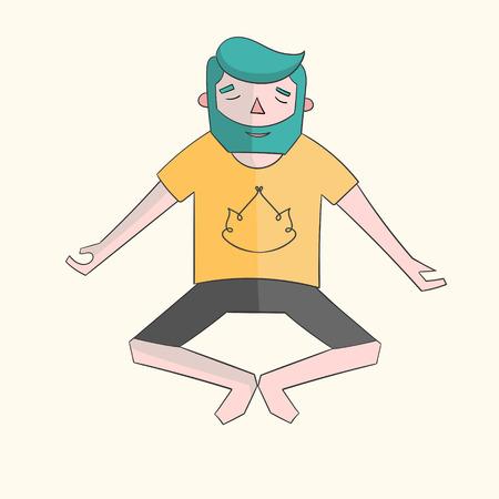 meditation man: Meditation man vivid color cartoon doodle hand drawn vector illustration