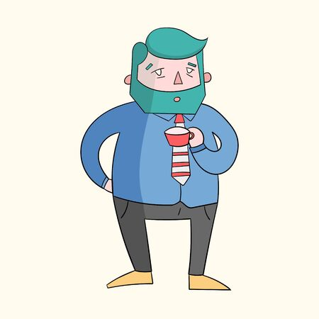 canlı renkli: Coffee guy boss vivid color  cartoon hand drawn doodle vector illustration