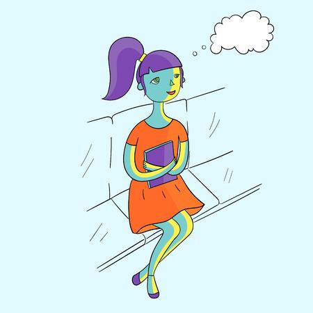canlı renkli: Kitap canlı renk doodle karikatür kroki vektör çizim ile Genç kız rüya Çizim
