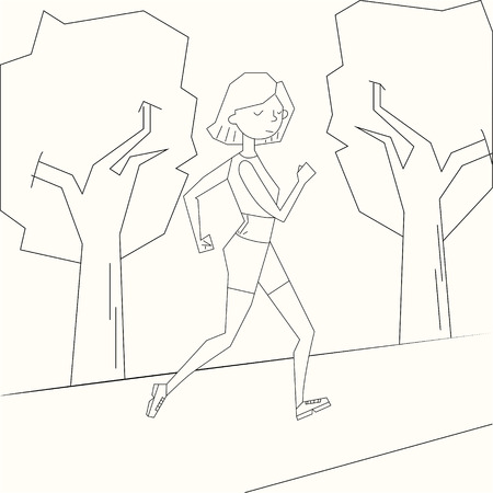 ms: Girl run morning street black and white doodle cartoon hand drawn vector illustration Illustration