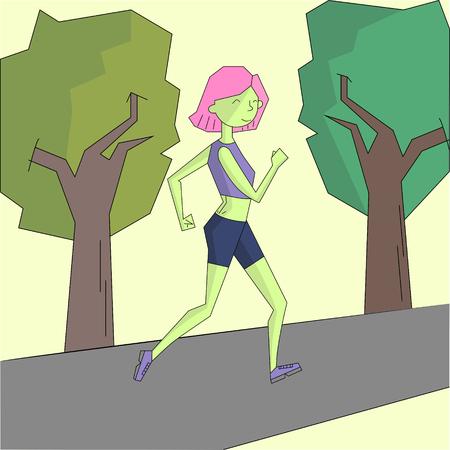 canlı renkli: Girl run morning street vivid color doodle cartoon hand drawn vector illustration