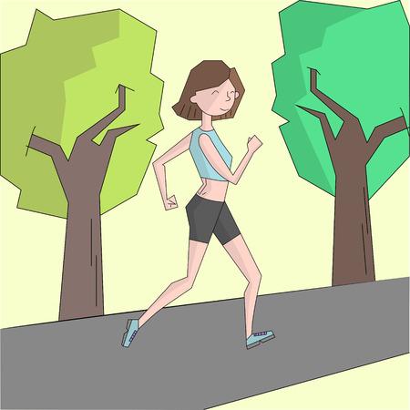 ms: Girl run morning street color doodle cartoon hand drawn vector illustration Illustration