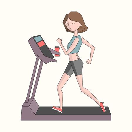 cheerfulness: Girl run treadmill color doodle cartoon hand drawn vector illustration