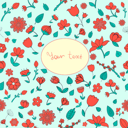 placeholder: Flowers text placeholder doodle hand drawn vector illustration Illustration