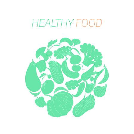 pumpkin seeds: Green vegetables healthy food text hand drawn doodle vector illustration Illustration
