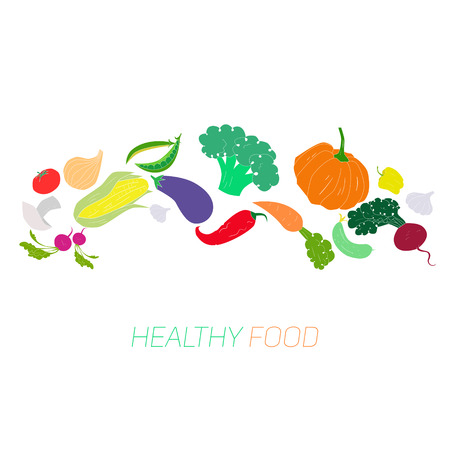 seed bed: Green vegetables healthy food text hand drawn doodle vector illustration Illustration